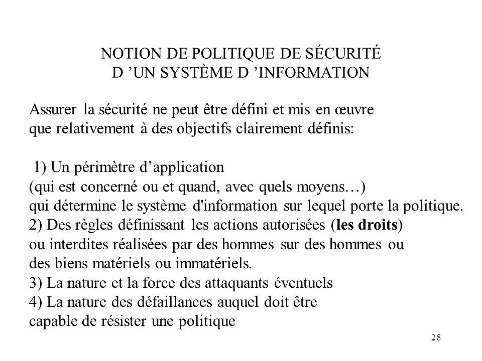 28 NOTION DE POLITIQUE DE SÉCURITÉ D UN SYSTÈME D INFORMATION Assurer la sécurité ne peut être défini et mis en œuvre que relativement à des objectifs