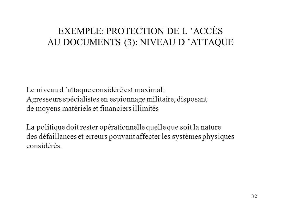 32 EXEMPLE: PROTECTION DE L ACCÈS AU DOCUMENTS (3): NIVEAU D ATTAQUE Le niveau d attaque considéré est maximal: Agresseurs spécialistes en espionnage