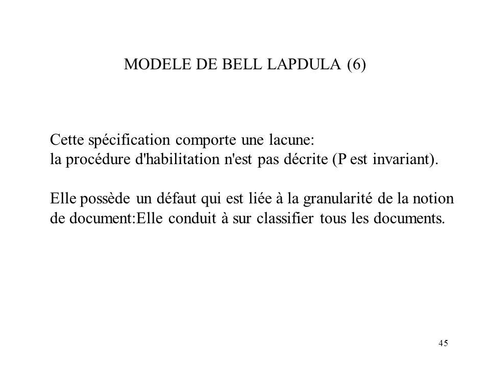 45 MODELE DE BELL LAPDULA (6) Cette spécification comporte une lacune: la procédure d'habilitation n'est pas décrite (P est invariant). Elle possède u