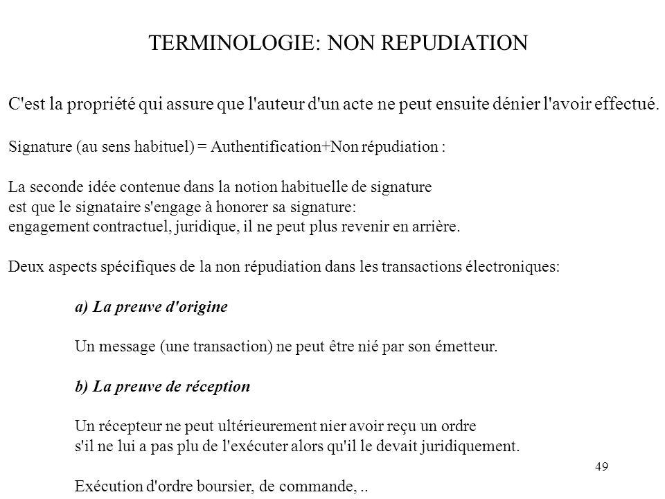 49 TERMINOLOGIE: NON REPUDIATION C'est la propriété qui assure que l'auteur d'un acte ne peut ensuite dénier l'avoir effectué. Signature (au sens habi