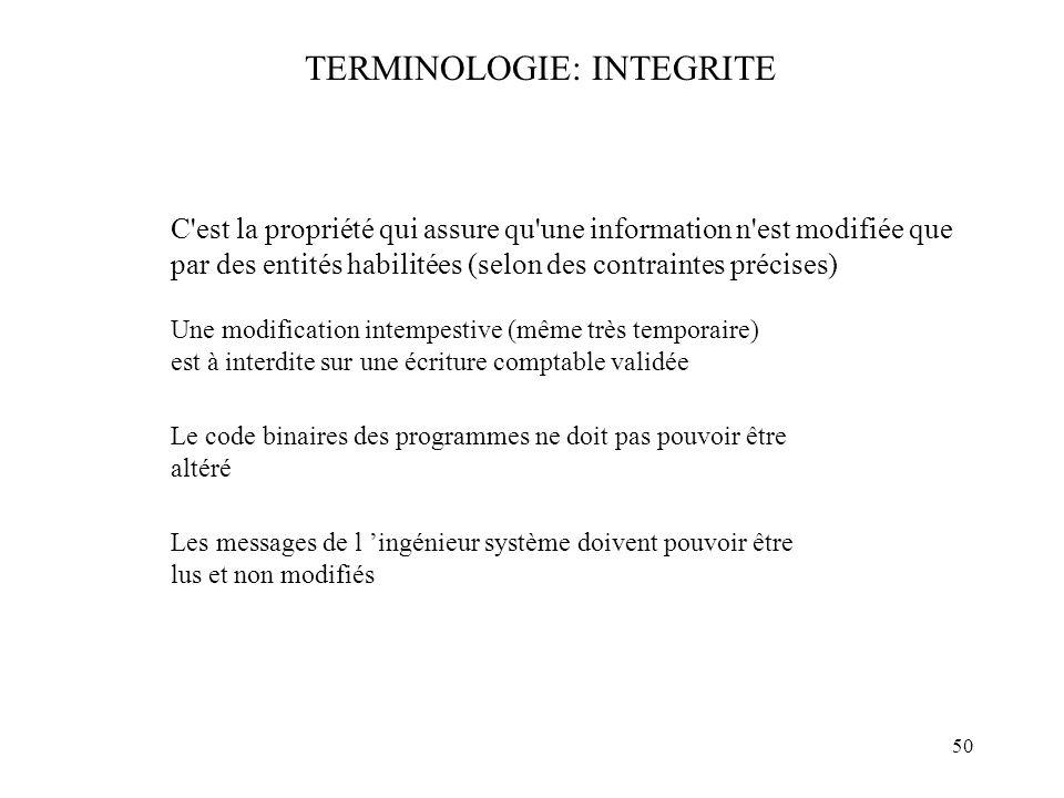 50 TERMINOLOGIE: INTEGRITE C'est la propriété qui assure qu'une information n'est modifiée que par des entités habilitées (selon des contraintes préci