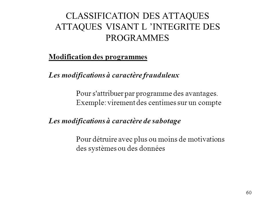 60 CLASSIFICATION DES ATTAQUES ATTAQUES VISANT L INTEGRITE DES PROGRAMMES Modification des programmes Les modifications à caractère frauduleux Pour s'