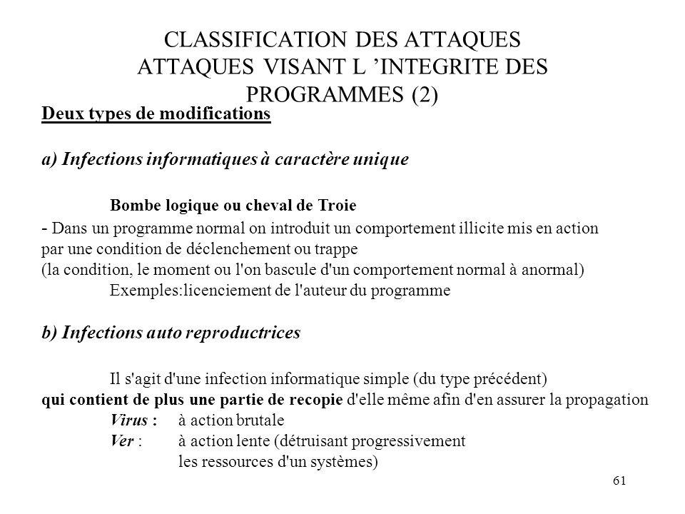 61 CLASSIFICATION DES ATTAQUES ATTAQUES VISANT L INTEGRITE DES PROGRAMMES (2) Deux types de modifications a) Infections informatiques à caractère uniq
