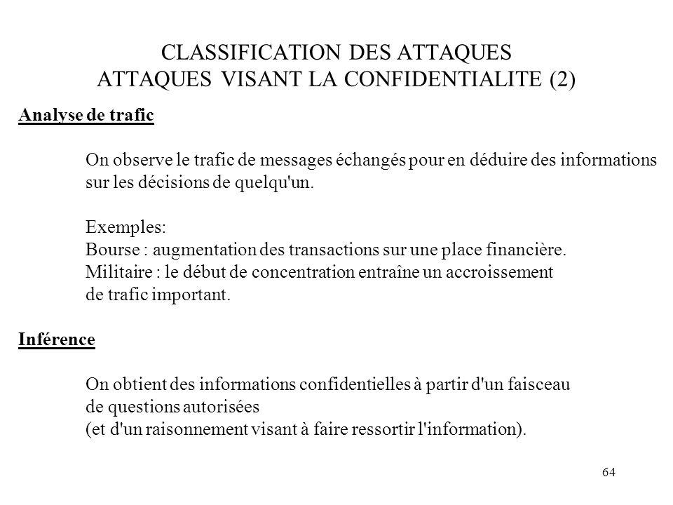 64 CLASSIFICATION DES ATTAQUES ATTAQUES VISANT LA CONFIDENTIALITE (2) Analyse de trafic On observe le trafic de messages échangés pour en déduire des