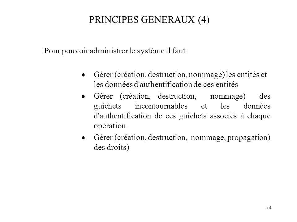 74 PRINCIPES GENERAUX (4) Pour pouvoir administrer le système il faut: Gérer (création, destruction, nommage) les entités et les données d'authentific