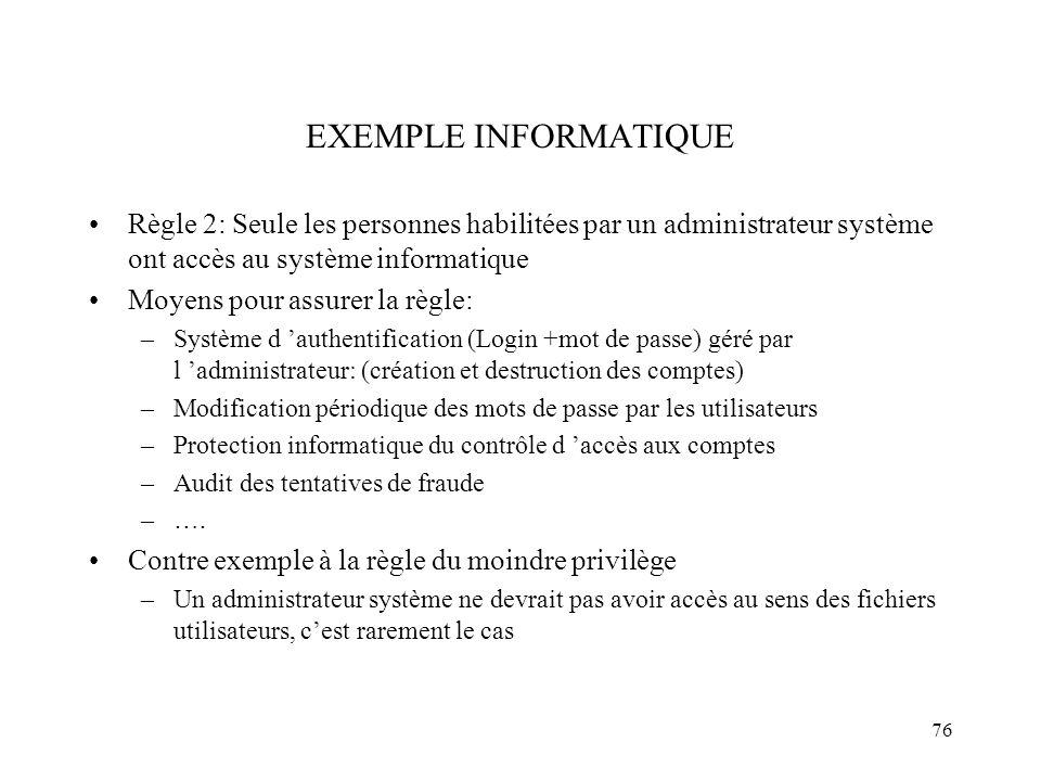 76 EXEMPLE INFORMATIQUE Règle 2: Seule les personnes habilitées par un administrateur système ont accès au système informatique Moyens pour assurer la