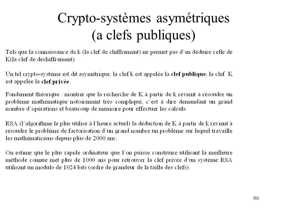 90 Crypto-systèmes asymétriques (a clefs publiques)