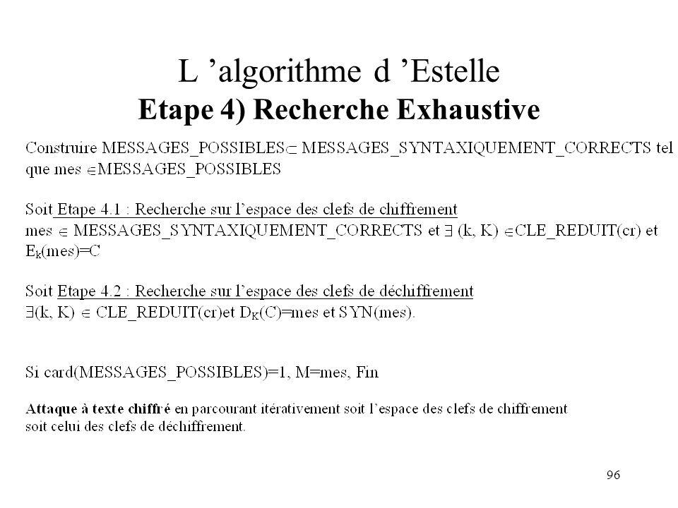 96 L algorithme d Estelle Etape 4) Recherche Exhaustive