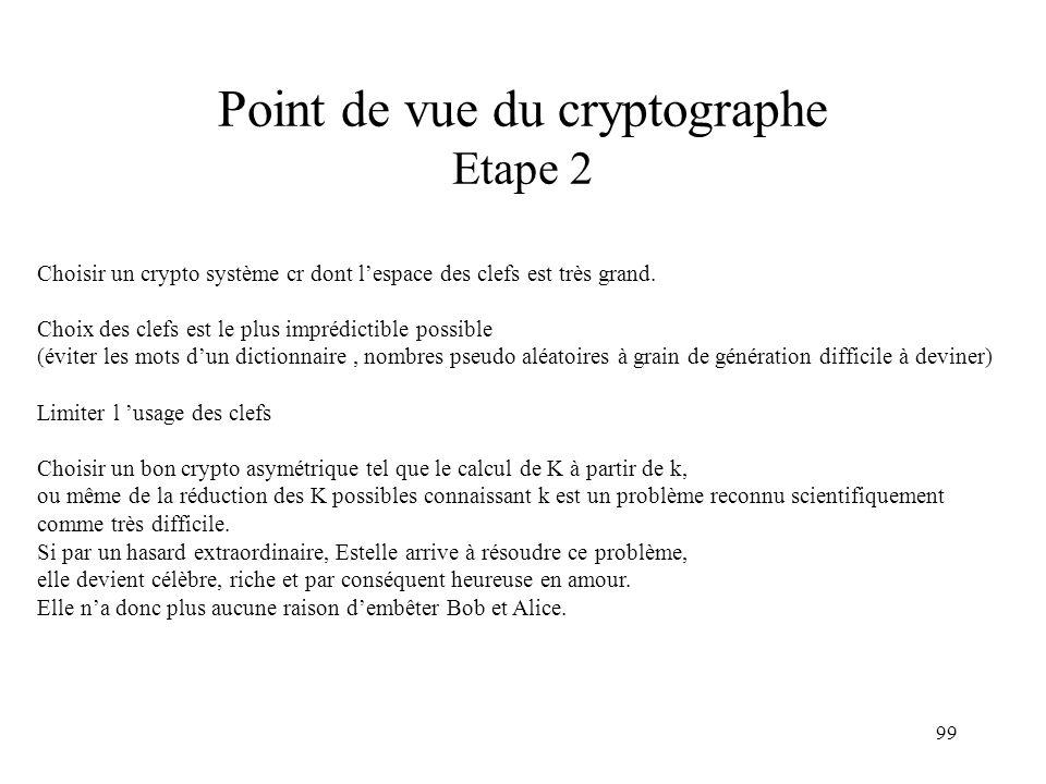 99 Point de vue du cryptographe Etape 2 Choisir un crypto système cr dont lespace des clefs est très grand. Choix des clefs est le plus imprédictible