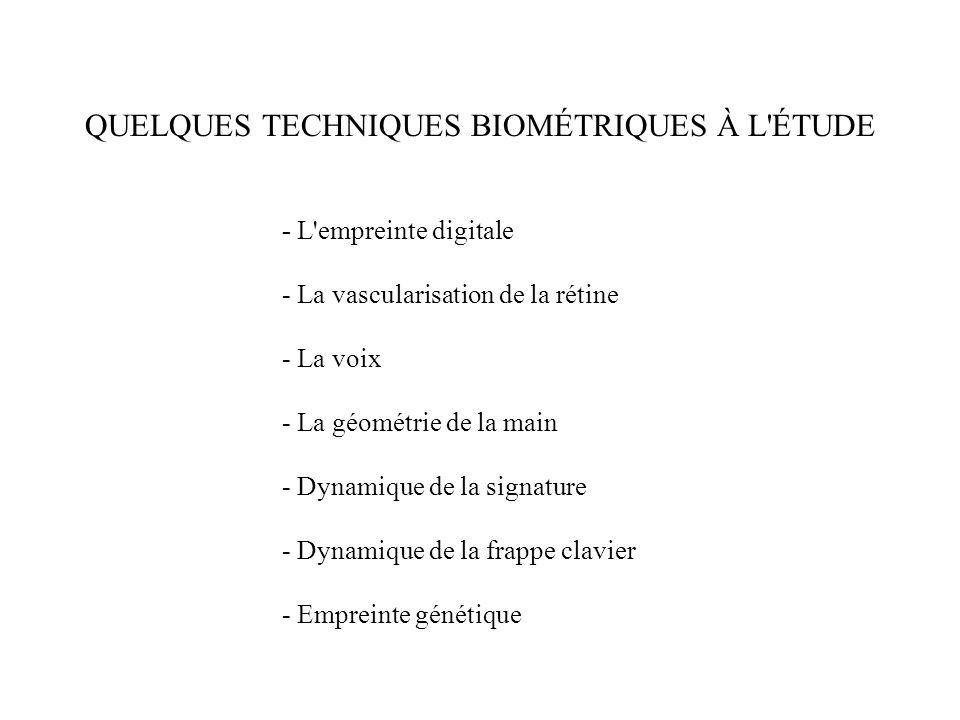 QUELQUES TECHNIQUES BIOMÉTRIQUES À L'ÉTUDE - L'empreinte digitale - La vascularisation de la rétine - La voix - La géométrie de la main - Dynamique de