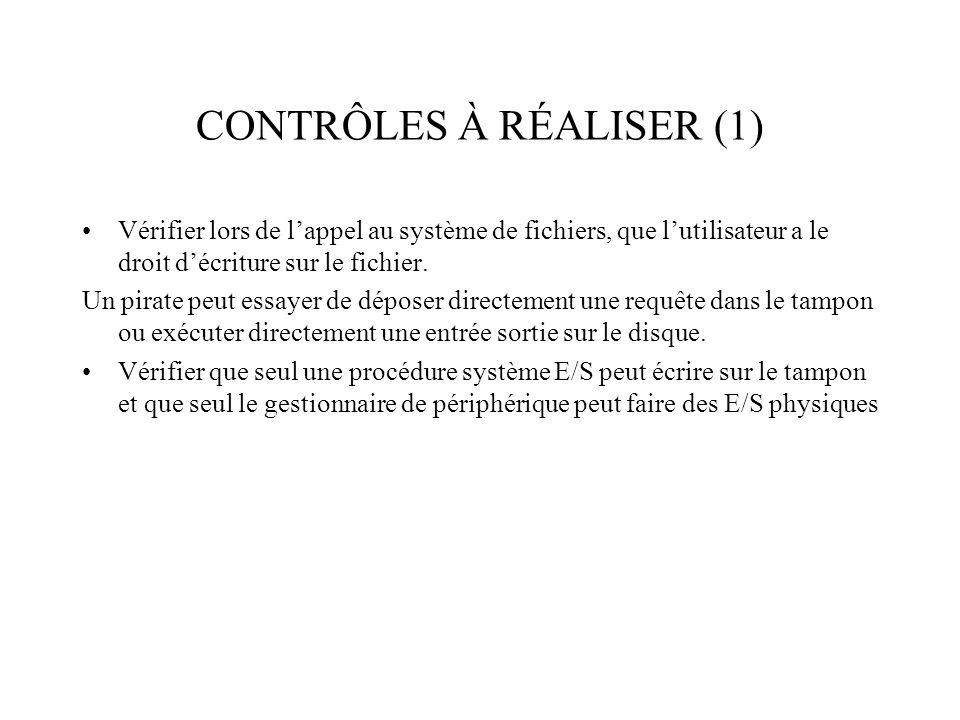 CONTRÔLES À RÉALISER (1) Vérifier lors de lappel au système de fichiers, que lutilisateur a le droit décriture sur le fichier. Un pirate peut essayer