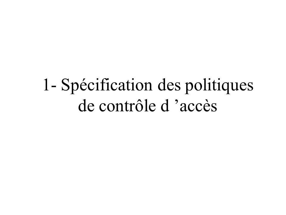 1- Spécification des politiques de contrôle d accès