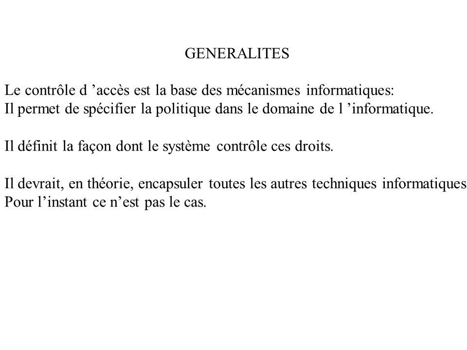 GENERALITES Le contrôle d accès est la base des mécanismes informatiques: Il permet de spécifier la politique dans le domaine de l informatique. Il dé
