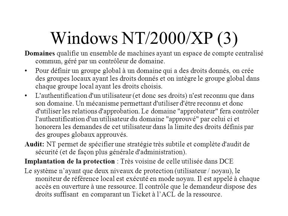 Windows NT/2000/XP (3) Domaines qualifie un ensemble de machines ayant un espace de compte centralisé commun, géré par un contrôleur de domaine. Pour