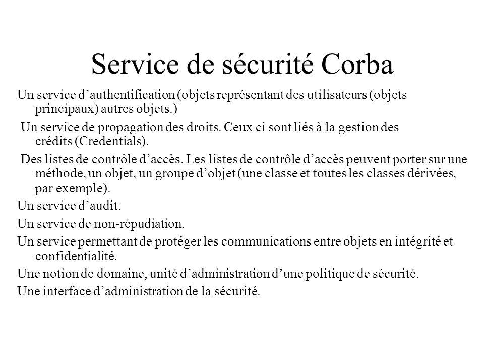 Service de sécurité Corba Un service dauthentification (objets représentant des utilisateurs (objets principaux) autres objets.) Un service de propagation des droits.