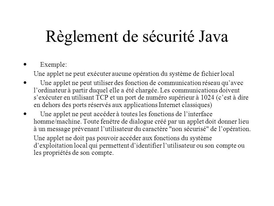 Règlement de sécurité Java Exemple: Une applet ne peut exécuter aucune opération du système de fichier local Une applet ne peut utiliser des fonction de communication réseau quavec lordinateur à partir duquel elle a été chargée.