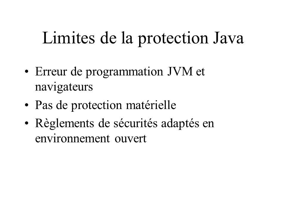 Limites de la protection Java Erreur de programmation JVM et navigateurs Pas de protection matérielle Règlements de sécurités adaptés en environnement ouvert