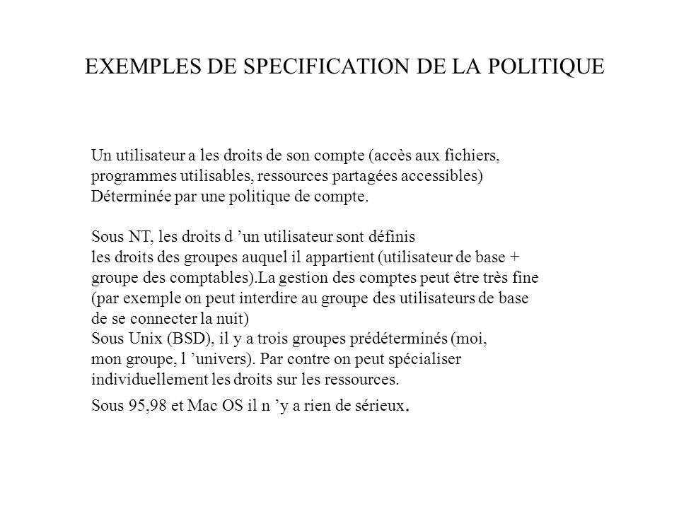 EXEMPLES DE SPECIFICATION DE LA POLITIQUE Un utilisateur a les droits de son compte (accès aux fichiers, programmes utilisables, ressources partagées accessibles) Déterminée par une politique de compte.