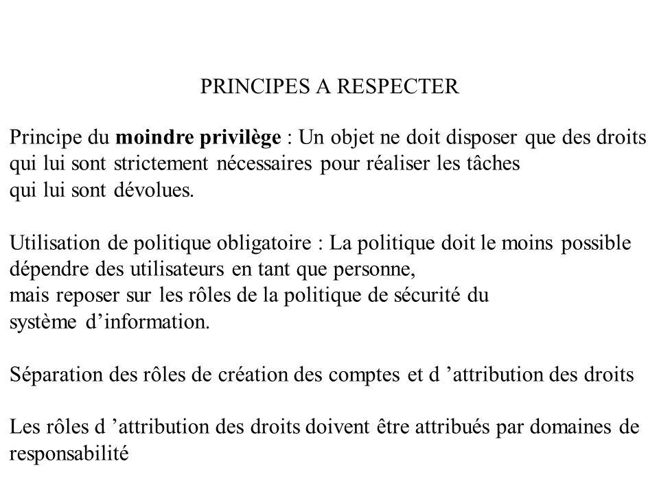PRINCIPES A RESPECTER Principe du moindre privilège : Un objet ne doit disposer que des droits qui lui sont strictement nécessaires pour réaliser les tâches qui lui sont dévolues.