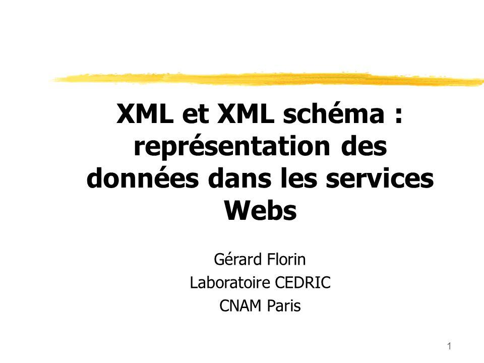 1 XML et XML schéma : représentation des données dans les services Webs Gérard Florin Laboratoire CEDRIC CNAM Paris