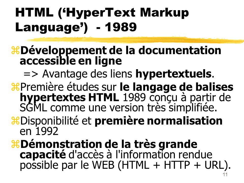 11 HTML (HyperText Markup Language) - 1989 zDéveloppement de la documentation accessible en ligne => Avantage des liens hypertextuels. zPremière étude