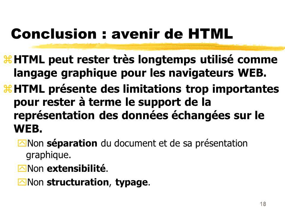 18 Conclusion : avenir de HTML zHTML peut rester très longtemps utilisé comme langage graphique pour les navigateurs WEB. zHTML présente des limitatio