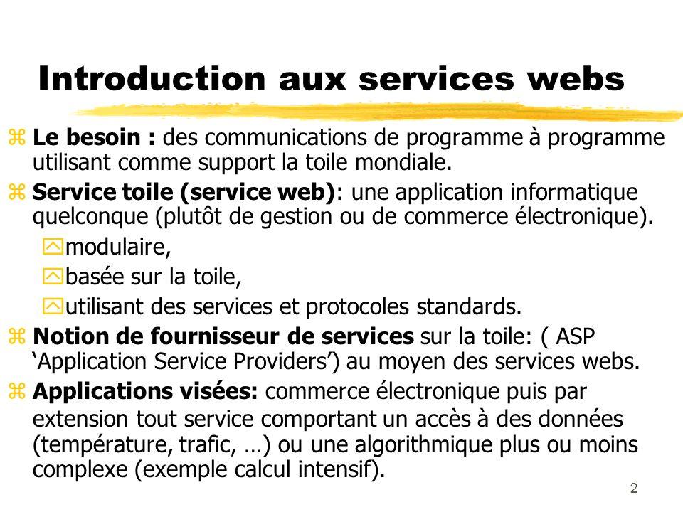 2 Introduction aux services webs zLe besoin : des communications de programme à programme utilisant comme support la toile mondiale. zService toile (s