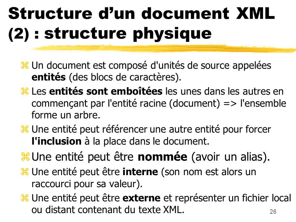 26 Structure dun document XML (2) : structure physique zUn document est composé d'unités de source appelées entités (des blocs de caractères). zLes en