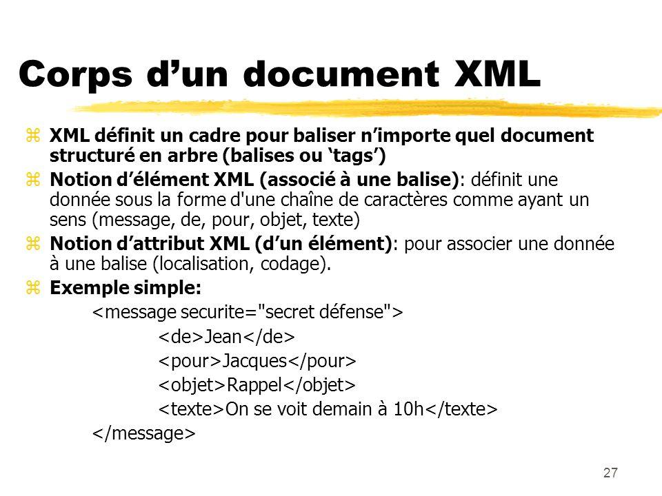 27 Corps dun document XML zXML définit un cadre pour baliser nimporte quel document structuré en arbre (balises ou tags) zNotion délément XML (associé