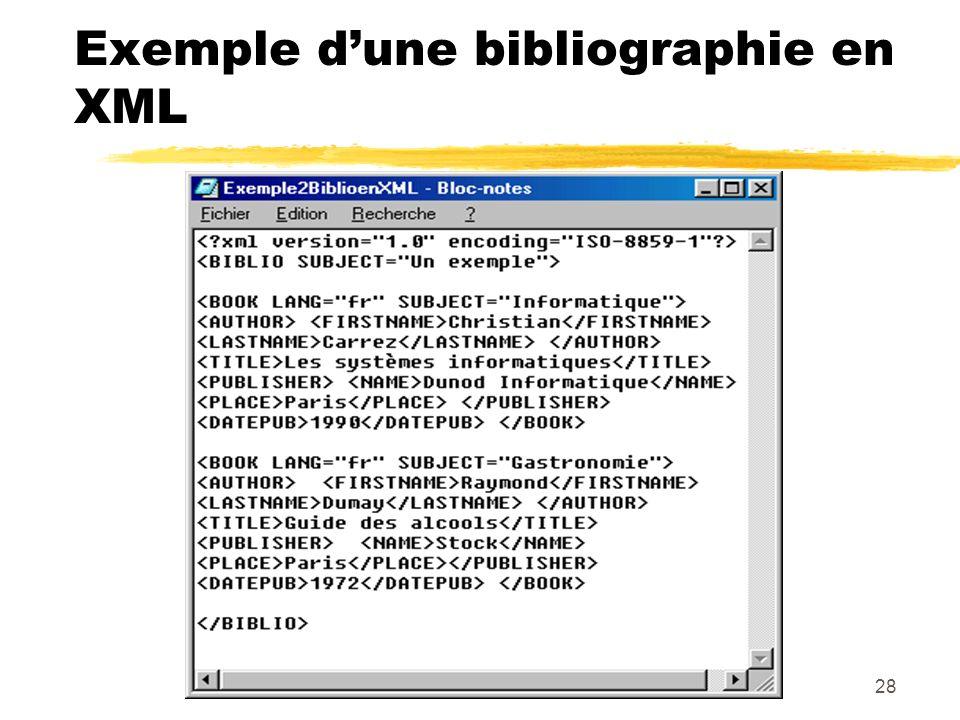 28 Exemple dune bibliographie en XML