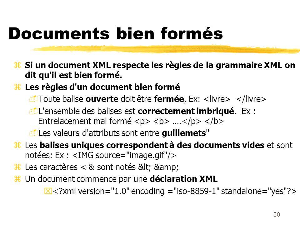 30 Documents bien formés zSi un document XML respecte les règles de la grammaire XML on dit qu'il est bien formé. zLes règles d'un document bien formé