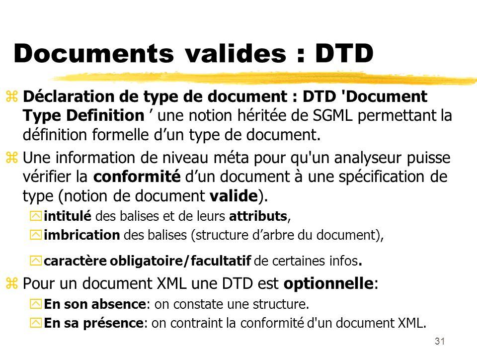 31 Documents valides : DTD zDéclaration de type de document : DTD 'Document Type Definition une notion héritée de SGML permettant la définition formel