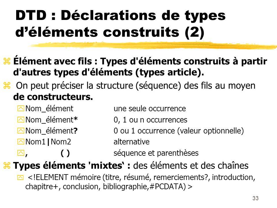 33 DTD : Déclarations de types déléments construits (2) zÉlément avec fils : Types d'éléments construits à partir d'autres types d'éléments (types art