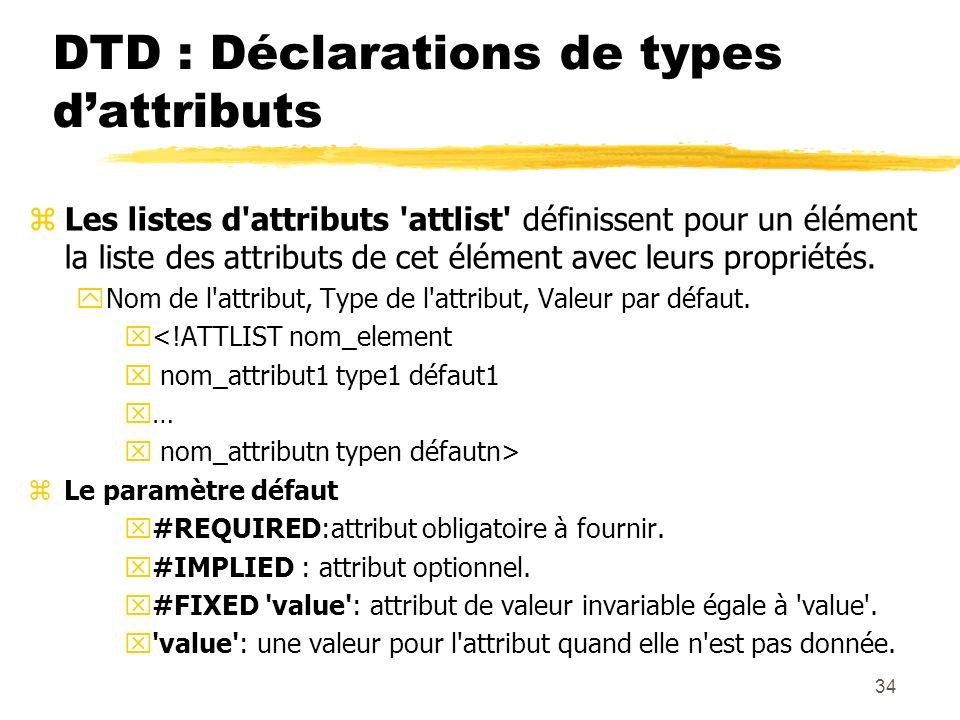 34 DTD : Déclarations de types dattributs zLes listes d'attributs 'attlist' définissent pour un élément la liste des attributs de cet élément avec leu