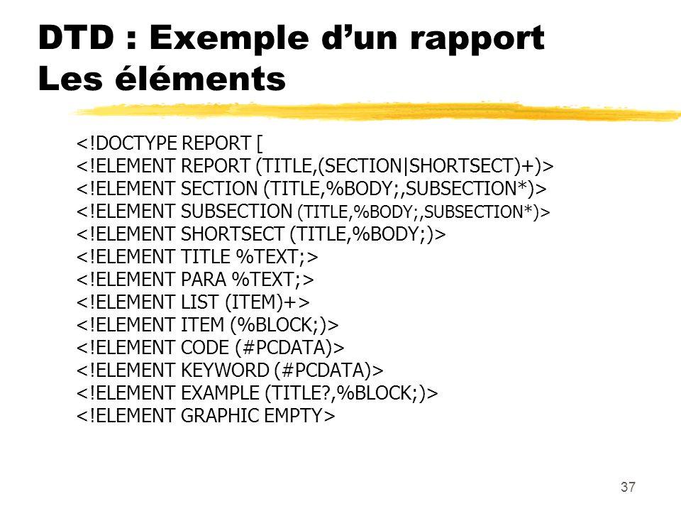 37 DTD : Exemple dun rapport Les éléments <!DOCTYPE REPORT [