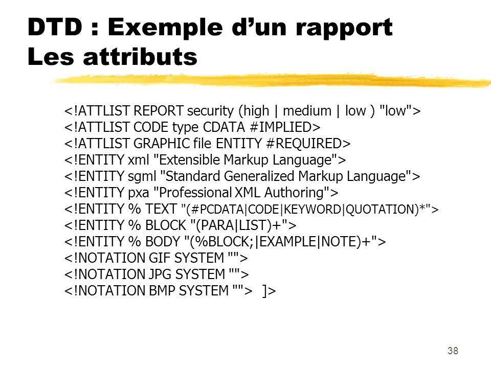 38 DTD : Exemple dun rapport Les attributs ]>
