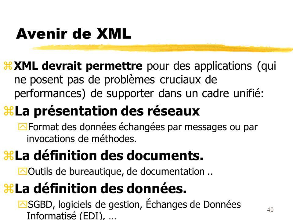 40 Avenir de XML zXML devrait permettre pour des applications (qui ne posent pas de problèmes cruciaux de performances) de supporter dans un cadre uni