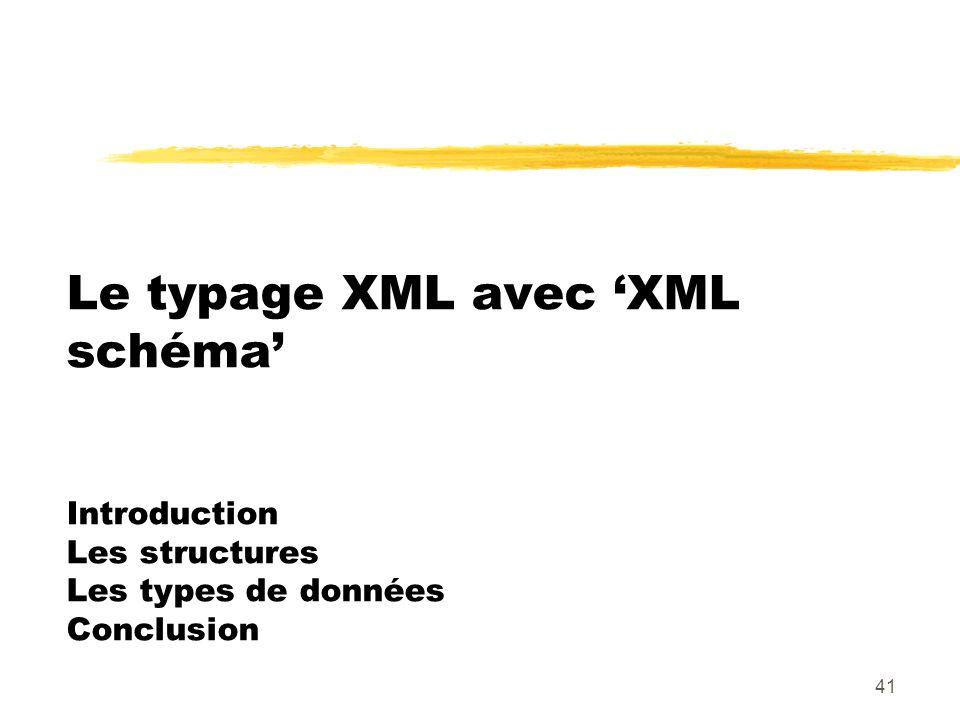 41 Le typage XML avec XML schéma Introduction Les structures Les types de données Conclusion