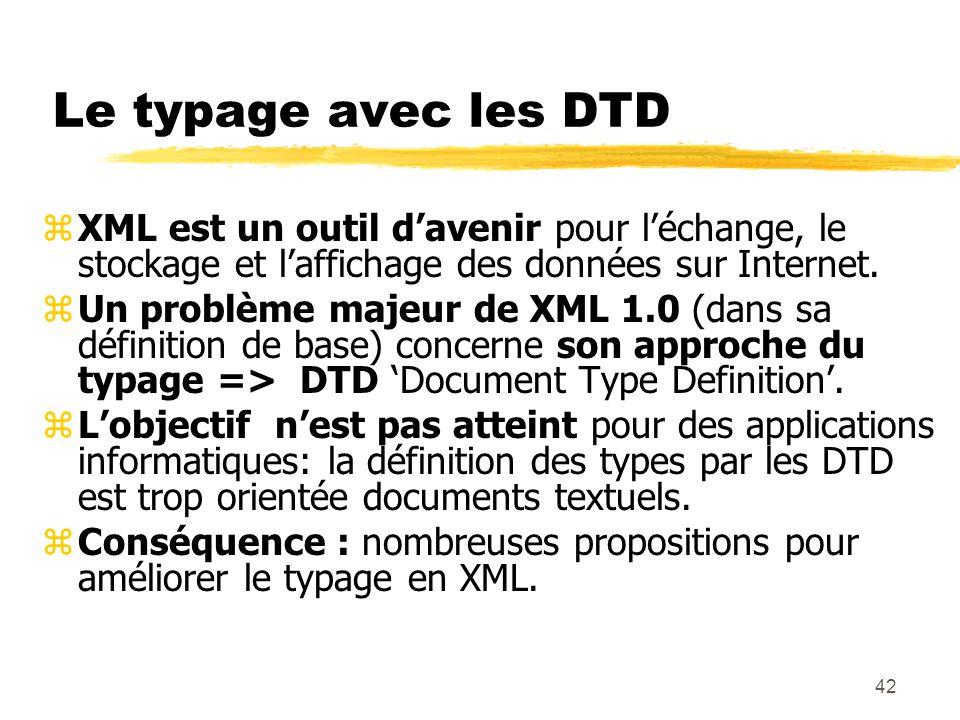 42 Le typage avec les DTD zXML est un outil davenir pour léchange, le stockage et laffichage des données sur Internet. zUn problème majeur de XML 1.0