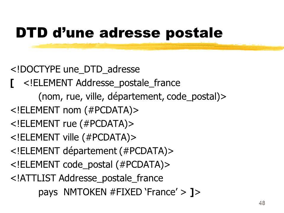 48 DTD dune adresse postale <!DOCTYPE une_DTD_adresse [ <!ELEMENT Addresse_postale_france (nom, rue, ville, département, code_postal)> <!ATTLIST Addre
