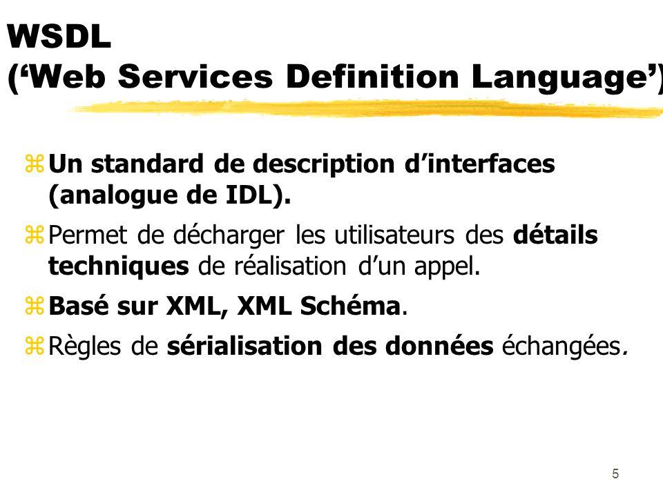 5 WSDL (Web Services Definition Language) zUn standard de description dinterfaces (analogue de IDL). zPermet de décharger les utilisateurs des détails