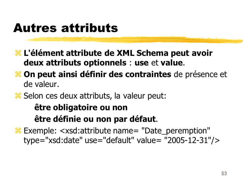 53 Autres attributs zL'élément attribute de XML Schema peut avoir deux attributs optionnels : use et value. zOn peut ainsi définir des contraintes de