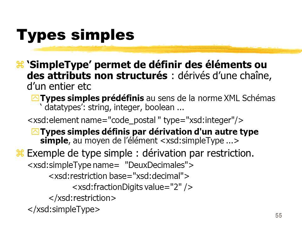 55 Types simples zSimpleType permet de définir des éléments ou des attributs non structurés : dérivés dune chaîne, dun entier etc yTypes simples prédé