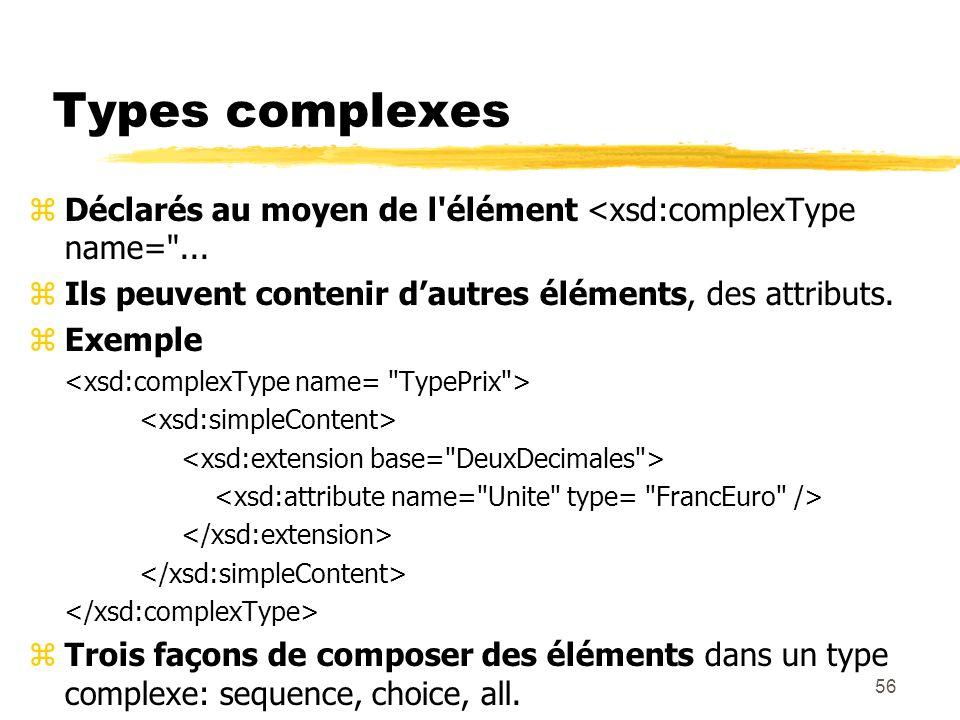 56 Types complexes zDéclarés au moyen de l'élément <xsd:complexType name=