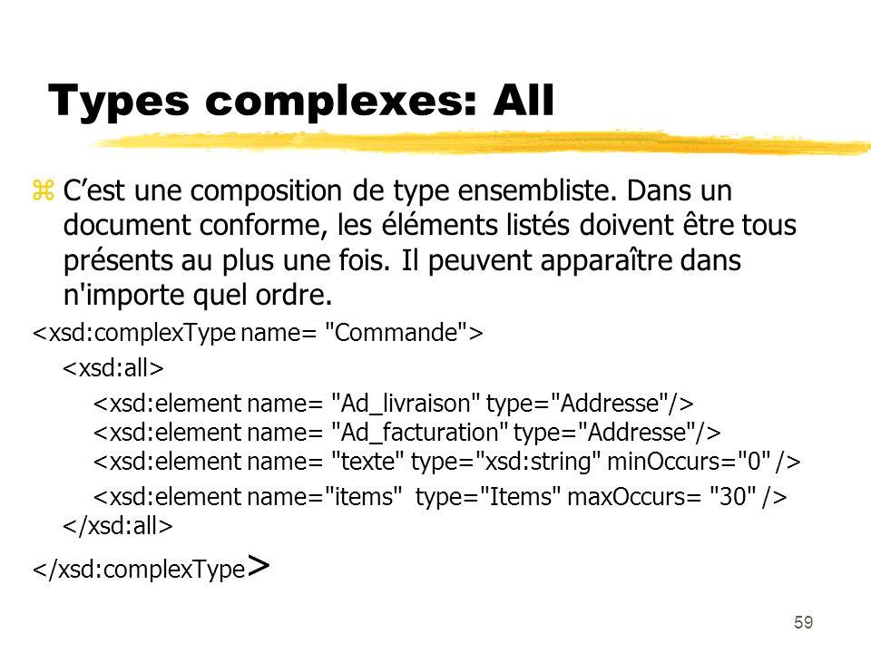 59 Types complexes: All zCest une composition de type ensembliste. Dans un document conforme, les éléments listés doivent être tous présents au plus u