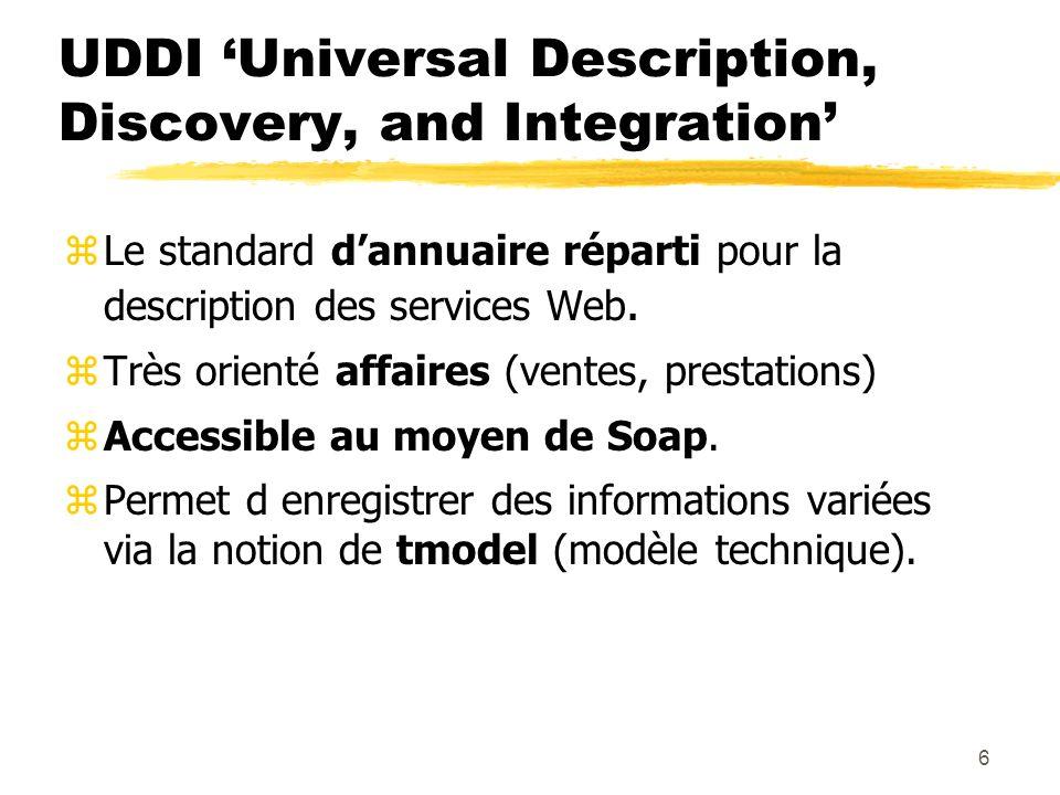 6 UDDI Universal Description, Discovery, and Integration zLe standard dannuaire réparti pour la description des services Web. zTrès orienté affaires (