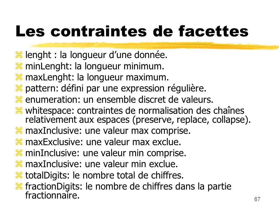 67 Les contraintes de facettes zlenght : la longueur dune donnée. zminLenght: la longueur minimum. zmaxLenght: la longueur maximum. zpattern: défini p