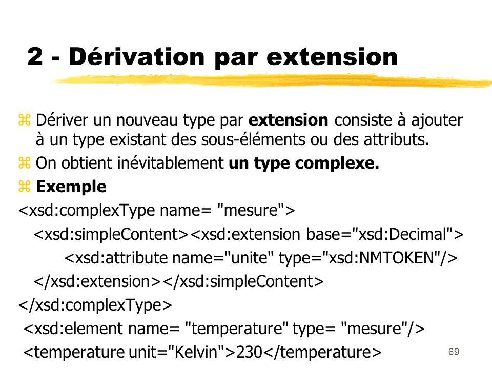 69 2 - Dérivation par extension zDériver un nouveau type par extension consiste à ajouter à un type existant des sous-éléments ou des attributs. zOn o