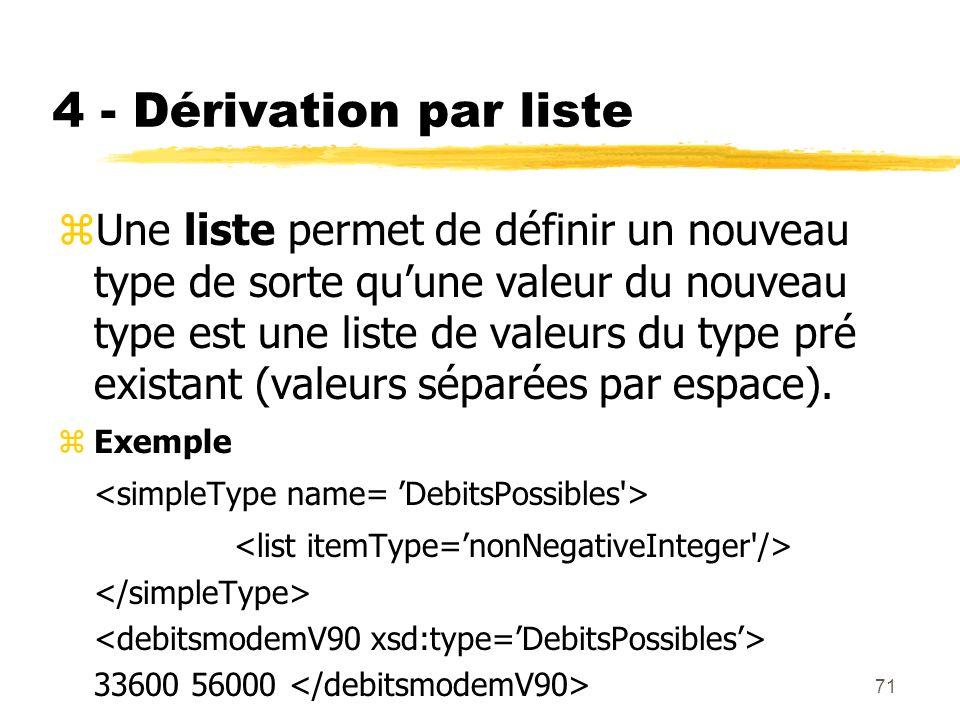 71 4 - Dérivation par liste zUne liste permet de définir un nouveau type de sorte quune valeur du nouveau type est une liste de valeurs du type pré ex