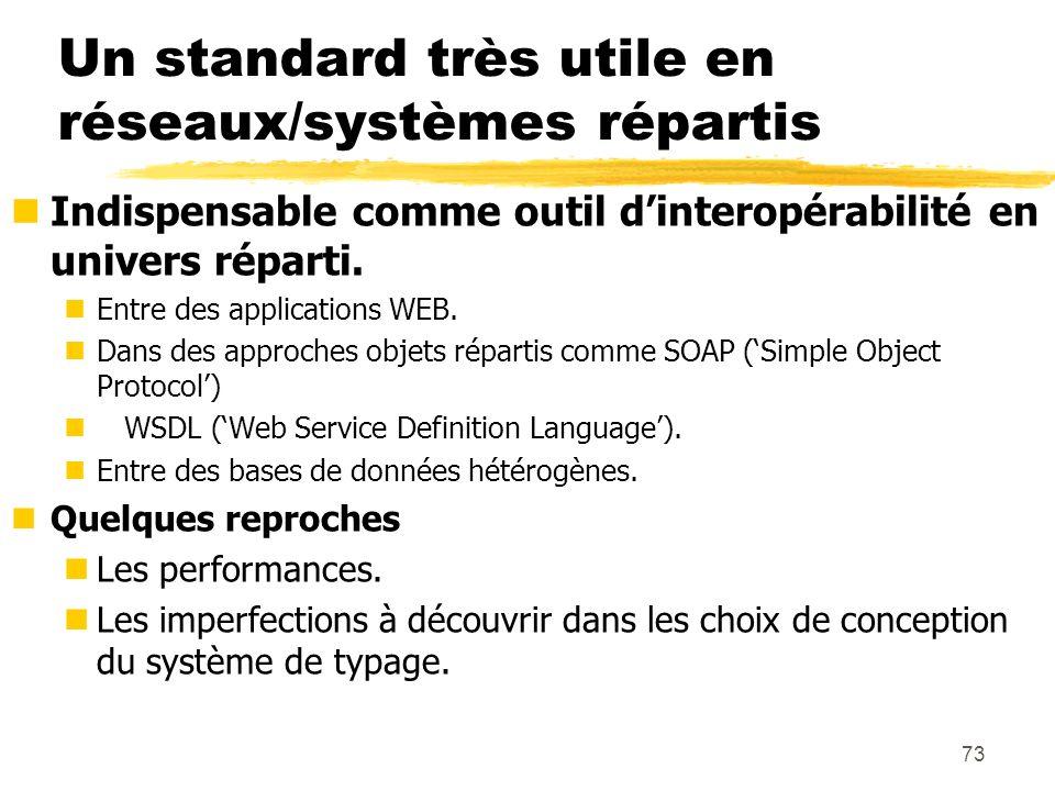 73 Un standard très utile en réseaux/systèmes répartis nIndispensable comme outil dinteropérabilité en univers réparti. nEntre des applications WEB. n